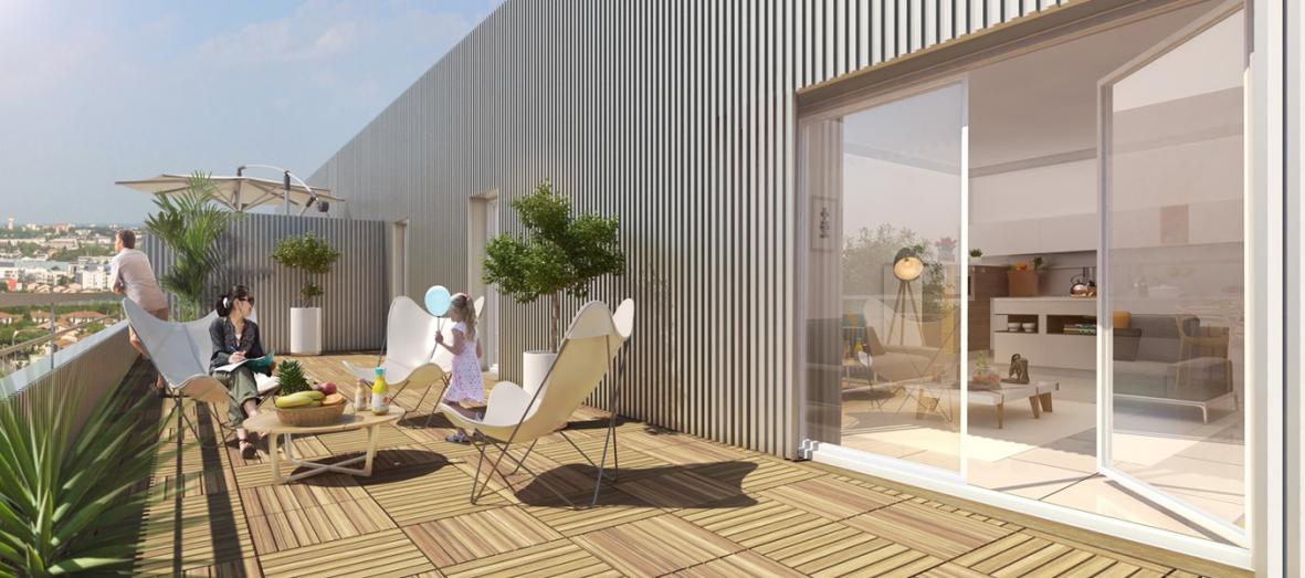 Vue Terrasse - extérieur - Les Jardins de l'Aéro